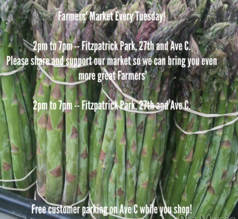 2019 Farmer's Market Every Tuesday @ Fitzpatrick Park, 2-7pm